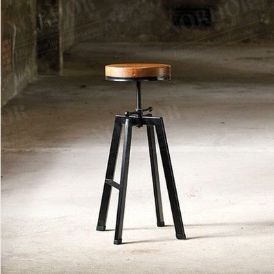 French Adjustable Bar Stools Modern Wood Vintage Bar