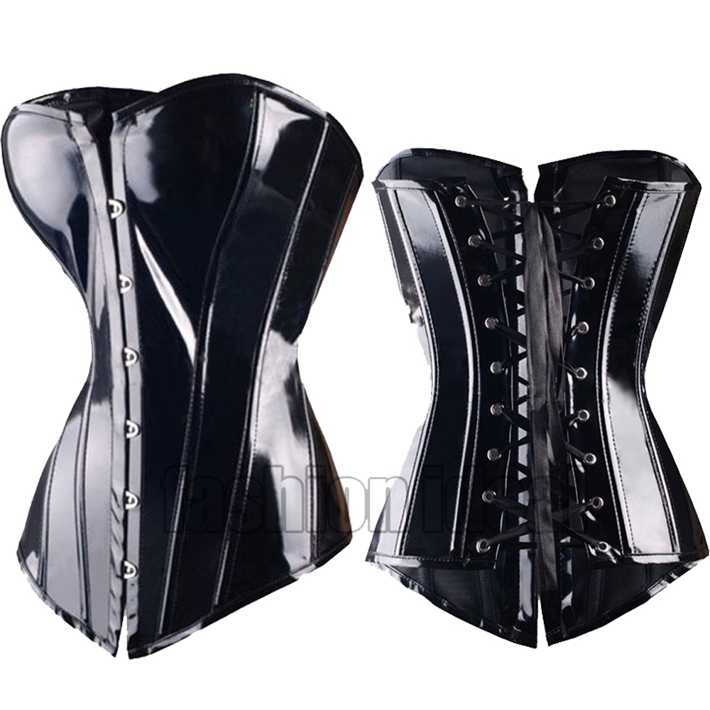 X Sexy Black Steampunk Faux leather Lace up Gothic Corsets and Bustiers Sexy Lingerie Slimming Size S-2/6XL(China (Mainland))