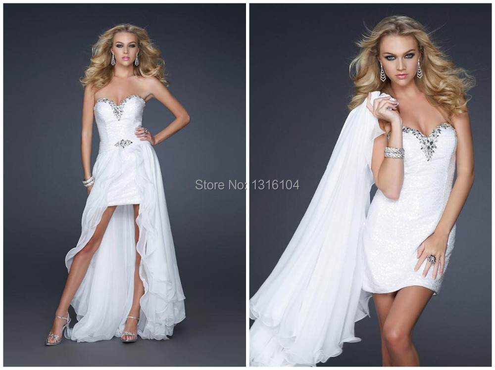 2016 High Low White Evening Dresses Long With Detachable Skirt Tow In One Short Prom Graduation Gowns With Detachable Skirt(China (Mainland))