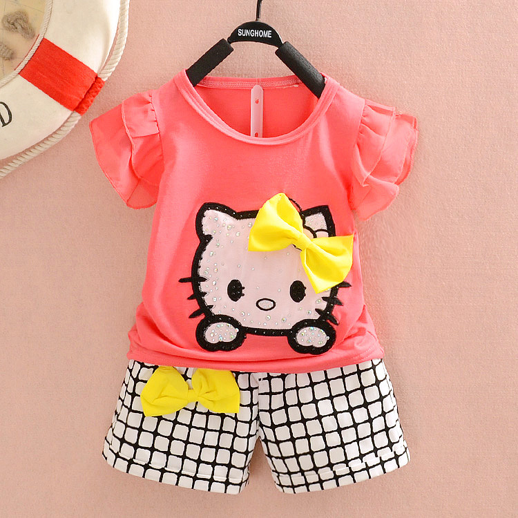 Retail 2015 Summer style children clothing set baby kids girls hello kitty clothes sets child cute cartoon t shirt shorts pants(China (Mainland))