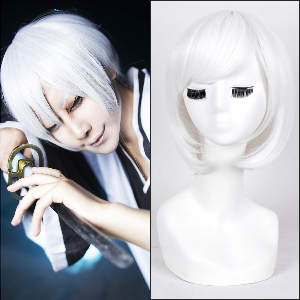 Free shipping Ichimaru Gin/Hohzuki Suigetsu white short straight anime cosplay costume wig BE3037+a Wig cap<br><br>Aliexpress