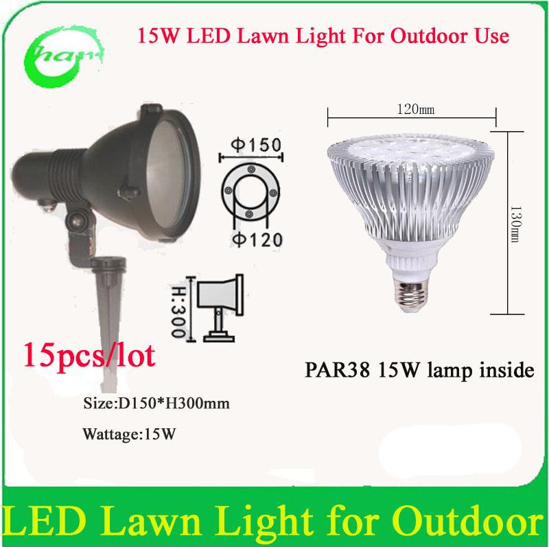15W PAR38 Outdoor LED Lawn lamps Waterproof IP65 Garden Wall Yard Path Pond Flood Spot Light AC85-265V