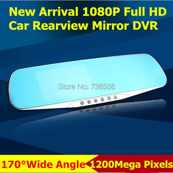 2015 New 4.3 inch Car Camera Mirror Full HD 1080P Car Rearview Mirror With Camera Video Recorder Car DVR 2 Camera Parking(China (Mainland))