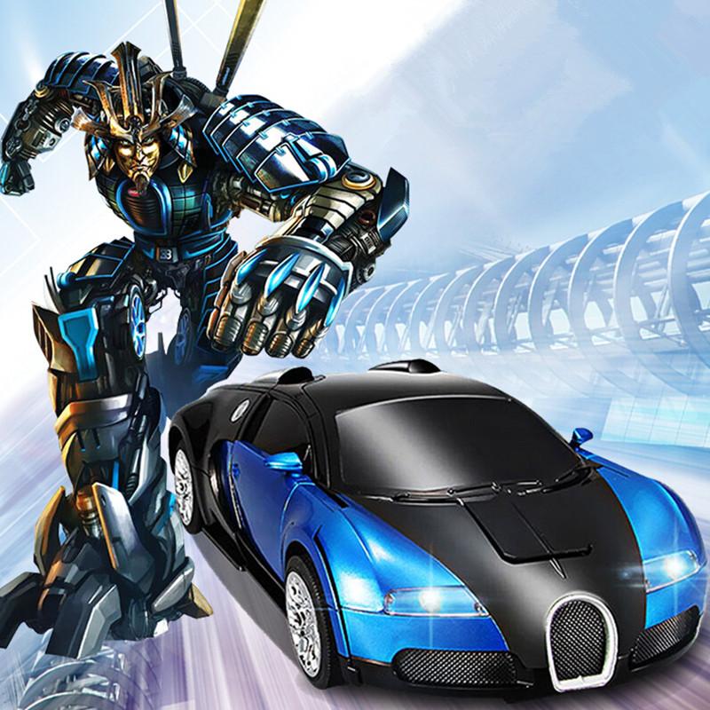 Hot Sales Bugatti Luxury Sportscar Models Deformation Robot Transformation Remote Control RC Car Boy Birthday Gift Action Toys