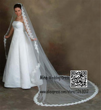New Arrival Wedding Veils 3 Meters White Or Ivory 2.5M Veils Tulle Applique Wedding Accessories(China (Mainland))
