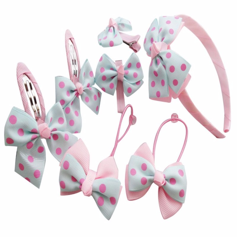 Gilrs Headwear Set Hairpins Elastic Hair Bands Handmade Dots Headbands Hair Clips Girls Hair Accessories