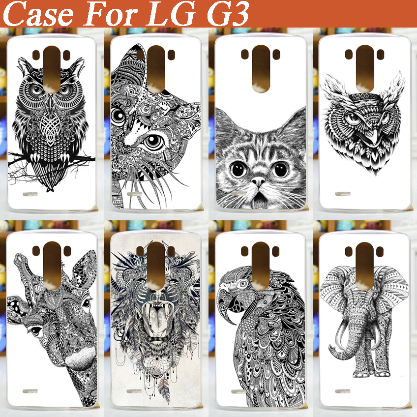 diy 3d painted white black animals hard cover case for LG G3 D850 D851 D855 F460 cell phone case(China (Mainland))