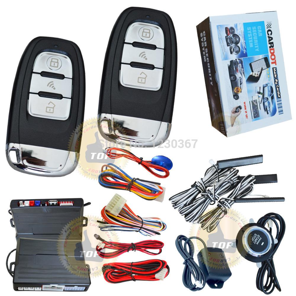 cardot passive keyless entry car alarm system,3pcs auto induction pke antennas,slim push stop button,auto headlamp output(China (Mainland))