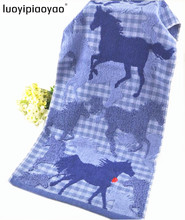 1 pieces 100% cotton Towel Running horse blue gray two color  34*76cm 100g free delivery(China (Mainland))
