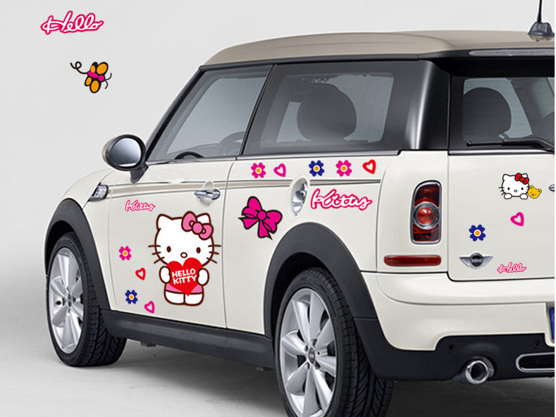 factory price cars sticker Hello Kitty Car Stickers Lovely Cat Decal car styling Cars Stickers(China (Mainland))
