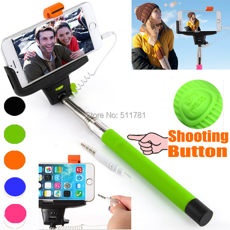 kjstar z07 7 audio cable wired selfie stick extendable monopod self stick for. Black Bedroom Furniture Sets. Home Design Ideas