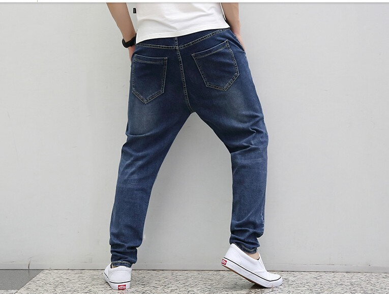 new casual large size jeans plus fertilizer to increase the individuality fashion Hip hop jeans