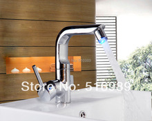 Buy 8043 Newly LED Deck Mounted Polished Chrome Bathroom Single Handle Tap Mixer Basin Faucet for $63.34 in AliExpress store