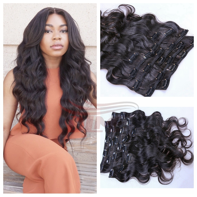 Clip in Human Hair Extensions Wavy Malaysian Virgin Hair Clip Ins Body Wave #1 Jet Black for Black Women Free DHL/Fedex Shipping<br><br>Aliexpress