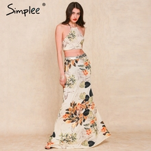 Simplee Apparel 2016 summer boho style Flower print long dress Two pieces backless halter cross women maxi dress vestidos(China (Mainland))