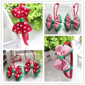 1 set, 2014 New Arrival Children's Christmas Ornaments Red Stripe Bowknot Fashion Girls's Headbands RH08