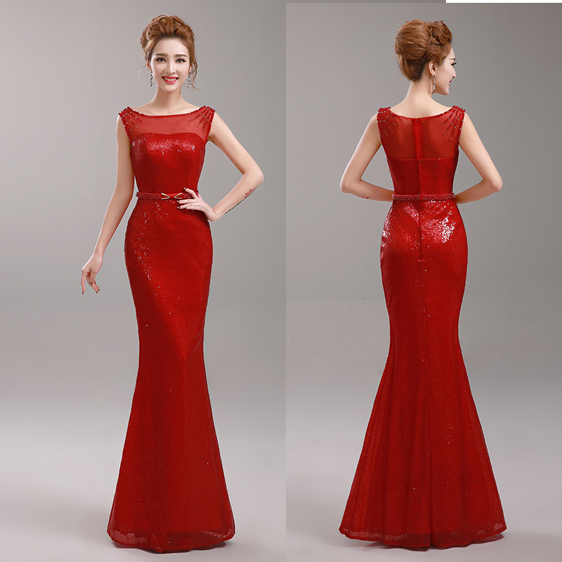 Elegant Floor-Length Mermaid Style Red Long Evening Dress Sequined 2015 New Arrival Women Formal Dresses(China (Mainland))