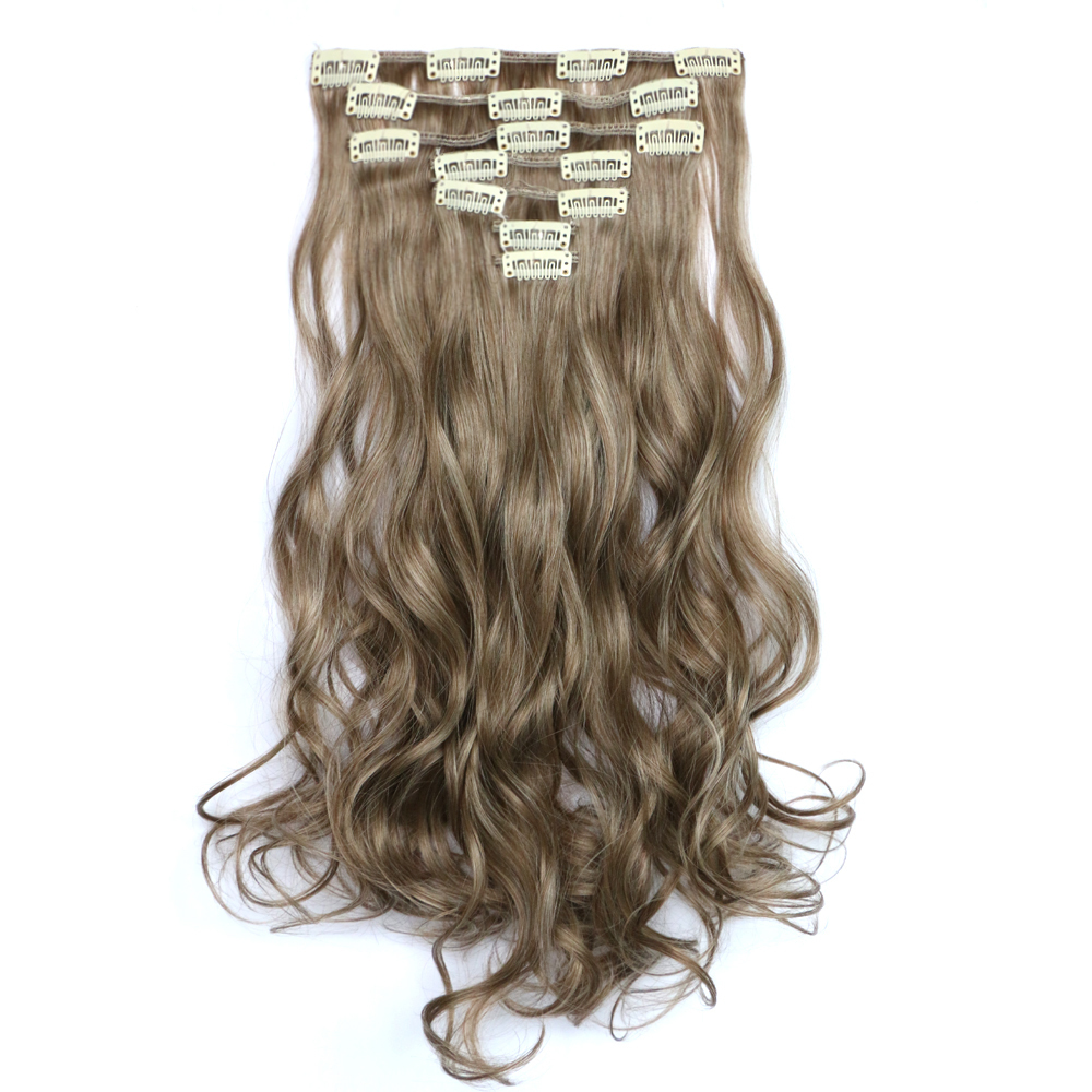 Best selling 22inch55cm 130g Women Long Hairpiece Curly/Wavy Clip in hair extension Heat Resistant Synthetic Hair 6color MW-7008<br><br>Aliexpress