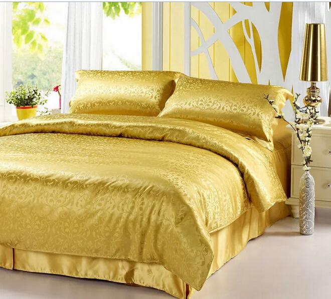 Hot! All silk jacquard denim 100% silk quilt bed linen without stitching  gold linen(China (Mainland))