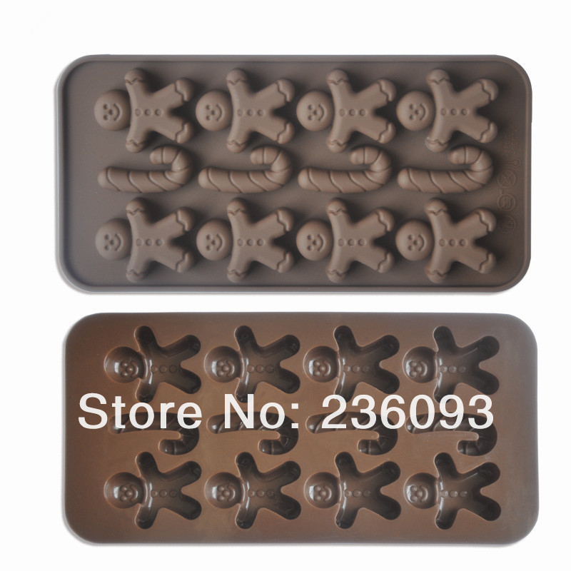 New 1PC Gingerman+J Chocolate Mold Jelly Ice Mold Tray Maker Silicone