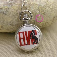 Elvis Presley woman Pocket Watch Necklace fob watches girl lady child kid Wholesale the kind of rock n roll silver red