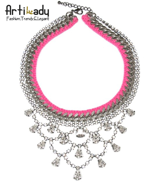 Artilady new brand necklace pink statement necklace 2013 jewelry