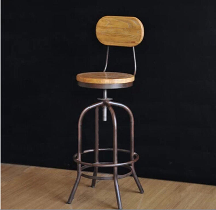 Wrought iron bar chair lift back home wooden stool factory direct wholesale<br><br>Aliexpress