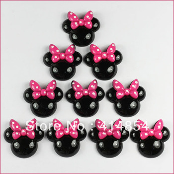 50 pcs Black Minnie Mouse Pink Bow Resin Flatbacks Flat Back Scrapbooking Girl Hair Bow Center Crafts Making Embellishments DIY