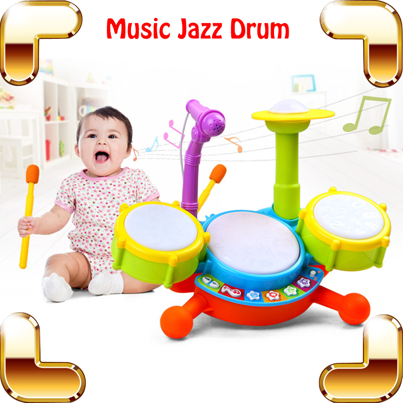 New Coming Gift Baby Jazz Drum Toy Musical Instrument Learning Education Toys Kids Microphone Children Plastic Drum Model Set(China (Mainland))