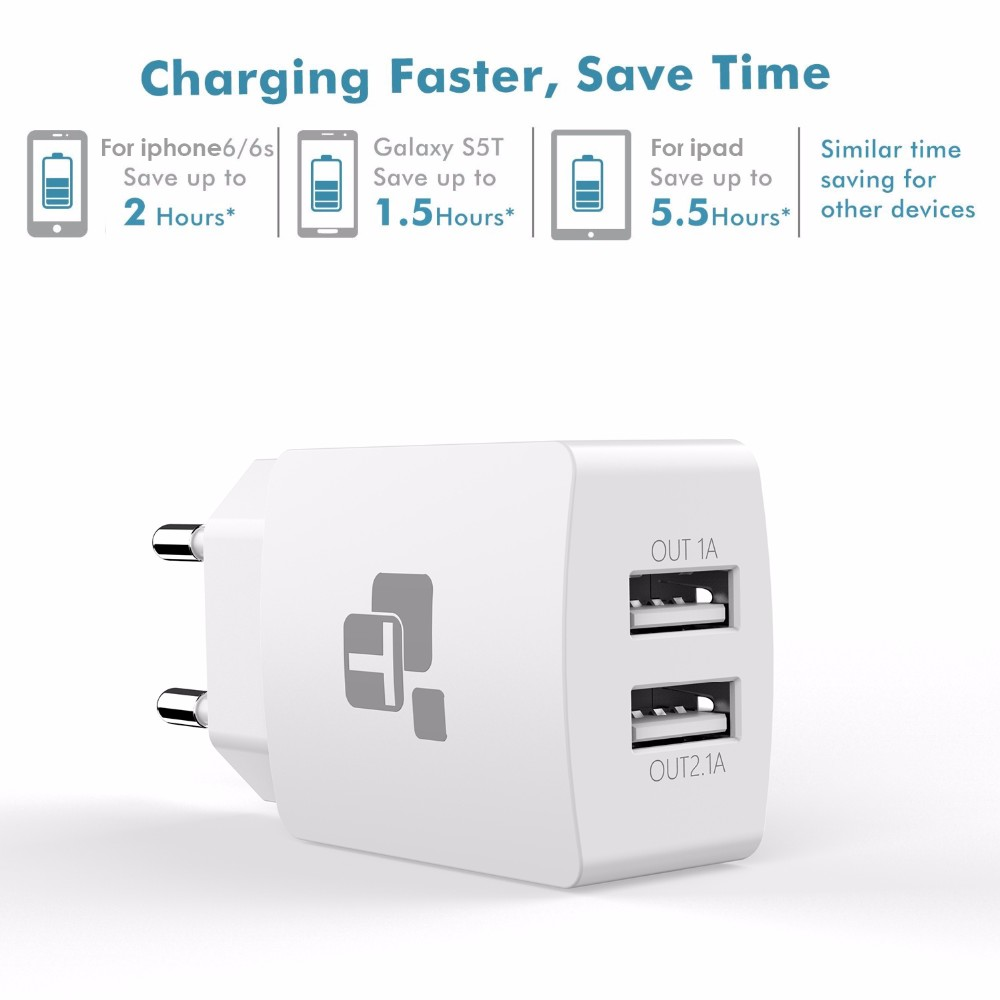 TIEGEM Travel USB Charger Adapter EU Plug Universal 2 Port Wall Portable Mobile Phone Charging Smart Charger for iPhone Tablet