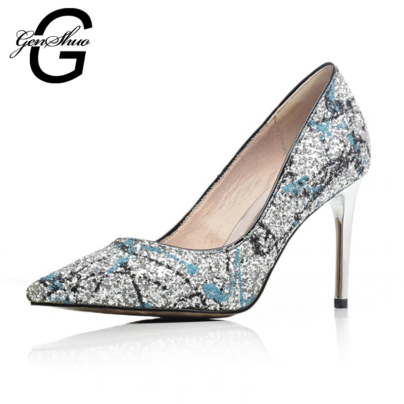 New Fashion Leather Sexy High Heels Women Pumps Glitter High Heel Shoes Woman Sexy Wedding Party Shoes Brown Blue
