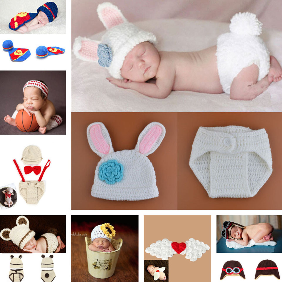 Newborn Baby Crochet Photography Props Handmade Infant Baby Pilort Hat Infant Nursling Knitted Beanies 1pc MZS-14030(China (Mainland))