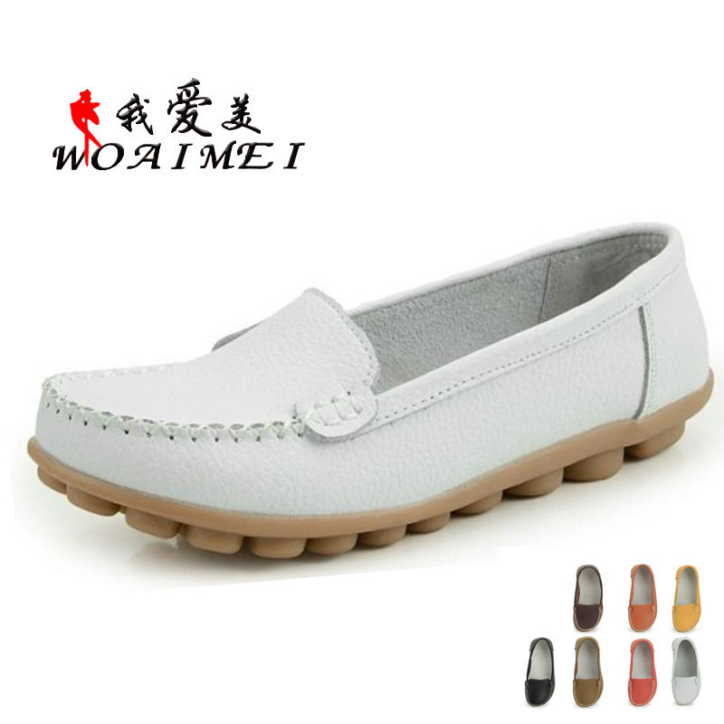 2015 Spring Comfortable Flat Shoes Women Shoes Leather ...