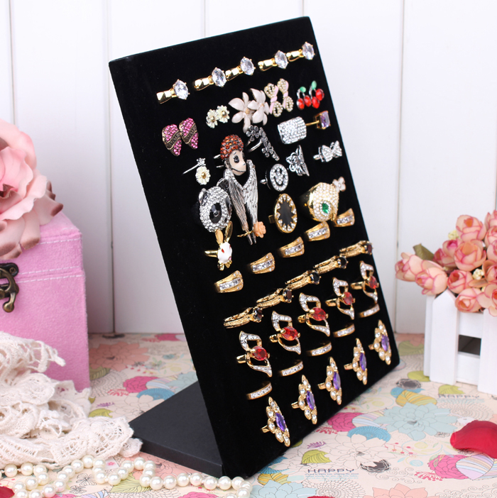 Black Earring Ring Display Large Board Fabric High and Comfortable Jewelry L Stand Holder(China (Mainland))
