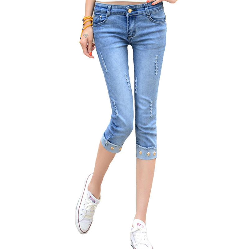 Women Blue Jean Capris Promotion-Shop for Promotional Women Blue ...