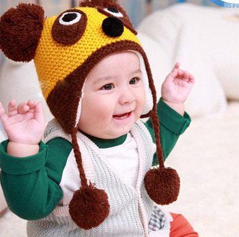 2013  Supernova Sales new autumn and winter baby bear hat baby knitted hat wool cap Children Beanie wholesale men and women