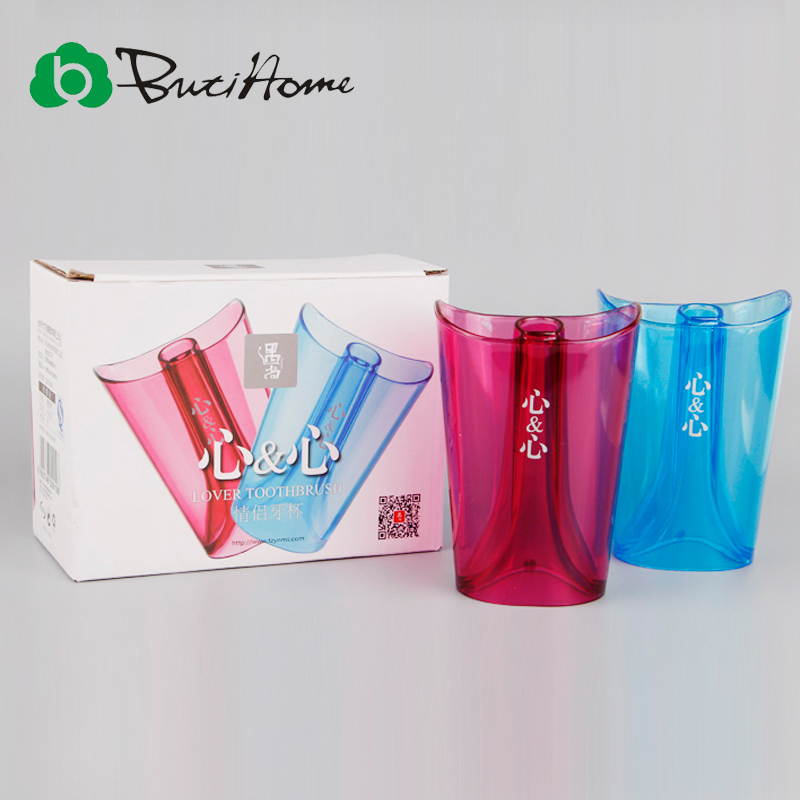 Butihome My Couple Girl Boy Teeth Brush Cup Water Bottle Love Heart 2pc/s Plastic Bottle Bathroom Combination Set Accessories(China (Mainland))