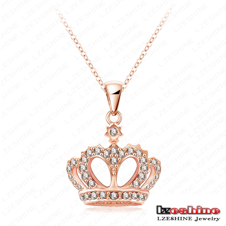 King's Crown Necklace Real 18K Rose Gold Plated Crystal Pendant Necklace Genuine SWA Elements Chain Necklace NL0290-A(China (Mainland))