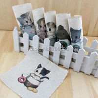 Hand dyed 6 Assorted  Cotton Linen Printed Quilt Fabric For DIY Sewing Patchwork Home Textile Decor 15X15cm cartoon cup cat