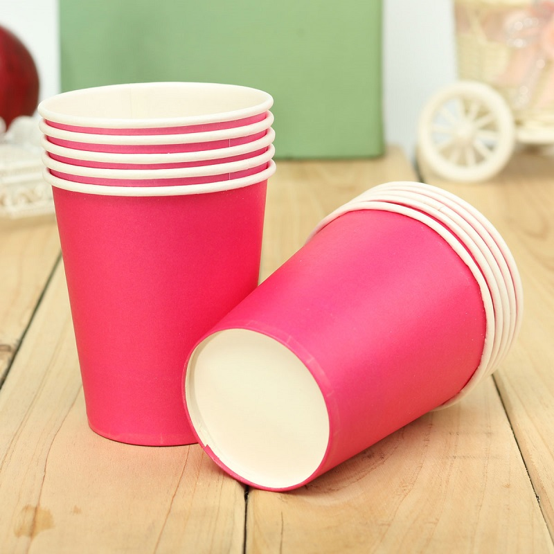 Disposable Paper Cups Plastic Wedding Vending Party Supplies Tumblr Glasses New Solid Candy Color Children's Day 10 pcs/lot(China (Mainland))