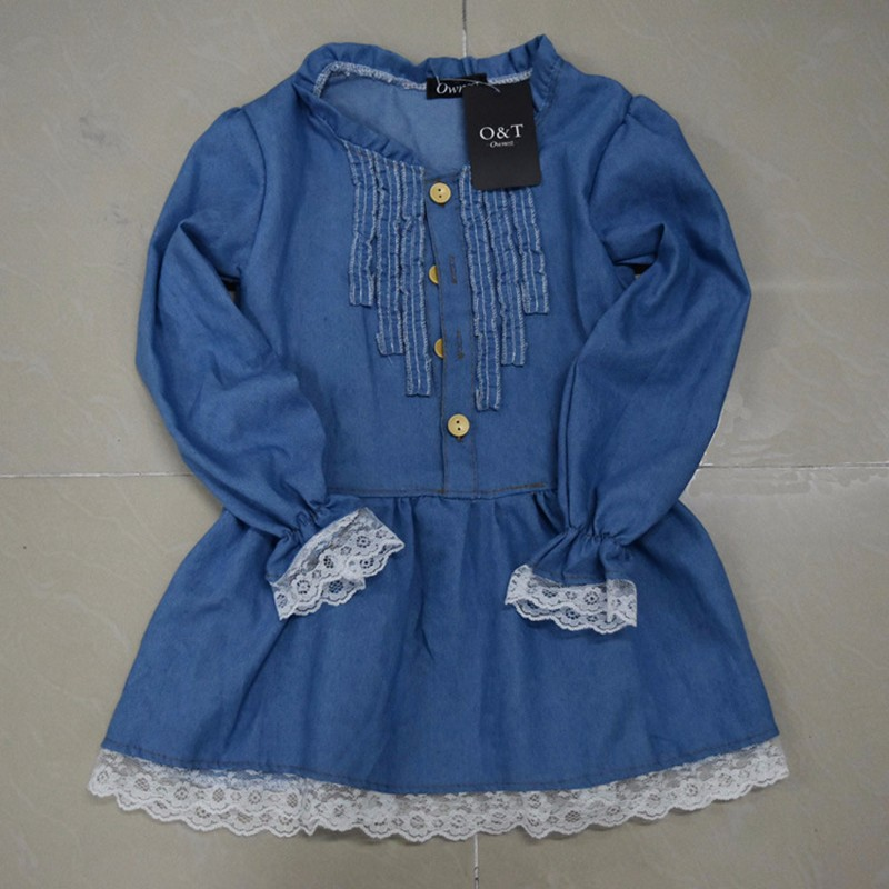 2017 New Arrival Baby Girls Long Sleeve Denim Dresses Girls Fashion Lace embroidery Denim Dress Kids Dress-style Blouses