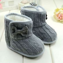 Baby Girl Knit Bowknot Faux Fleece nieve niños únicos suaves zapatos de bebé de lana 3 - 18 M(China (Mainland))