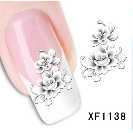 [D-XFXF1138]Hot Sale Water Transfer Nail Art Stickers Decal Elegant Light Blue Peony Flowers Design French Manicure Tools(China (Mainland))