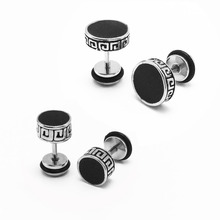 Pair Vintage Men's Stud Earrings Ear Plug Stainless Steel Anti-allergic Black Oil Drip 8mm 10mm Screw Back Cool Jewelry For Men (China (Mainland))