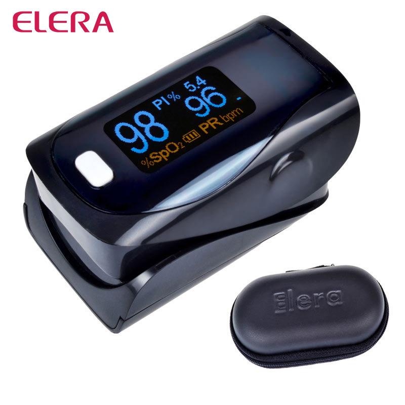 ELERA CE FDA Black Digital Finger Pulse Oximeter Blood Oxygen SpO2 Saturation PR PI Oximetro Monitor oximetro de dedo+Case