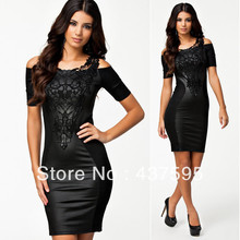 New 2014 European Design Women Fashion Embroidery PU Leather Patchwork Sexy Hip Package Short Dress Celebrity Party Dresses(China (Mainland))