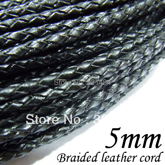 Free ship! 50m/lot Black Braided Genuine Leather Cord 5mm Black String Rope DIY Jewelry Cord<br>