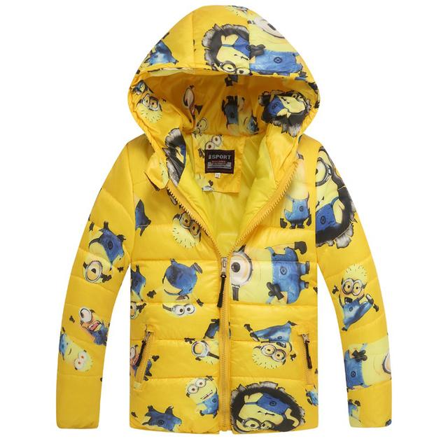 Для 3 - 10 лет 2015 гадкий я зима осень дети boyls куртки с капюшоном мальчики одежда верхняя одежда ребенка вниз пальто