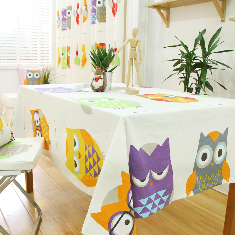 100% Cotton Handmade Owl TableCloth Sets Chair Table Covers Cartoon Table Napkin Freeshipping(China (Mainland))