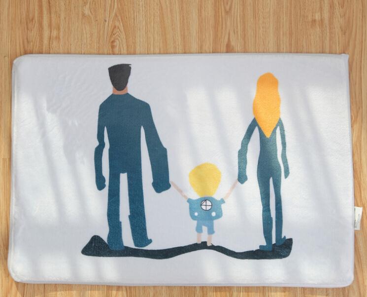 Mats Anti Slip Floor Mat cartoon family series Printed Pattern Carpet Rug for Bathroom Door Living Room(China (Mainland))